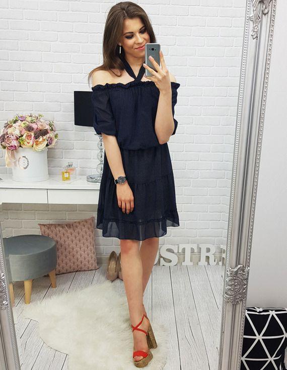 letnia sukienka czarny kolor z falbanką