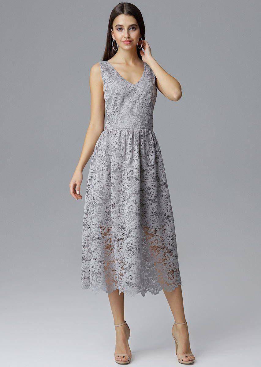 sukienka elegancka szara